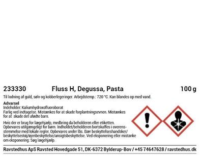 Fluss H, Degussa, 100 g, pasta til lodning af guld, sølv og kobberlegeringer